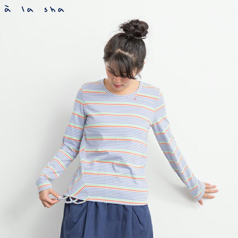 a la sha Qummi 彩條不對稱剪接長袖T恤 0