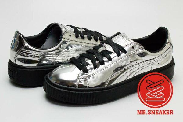 ☆Mr.Sneaker☆ Puma Basket Platform Metallic 金屬 鏡面 漆皮 似The Creeper 銀色 女段
