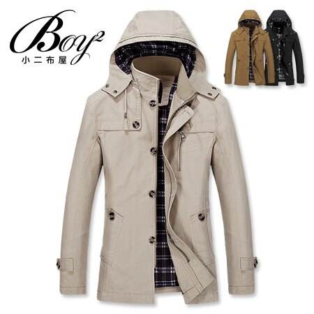 ☆BOY-2☆ 【NZ78018】軍裝高領連帽大衣外套 0