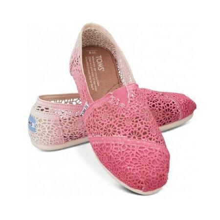 【TOMS】 桃紅色漸層蕾絲平底休閒鞋  Zig Zag Crochet Fuschia Dip-Dyed Women's Classics