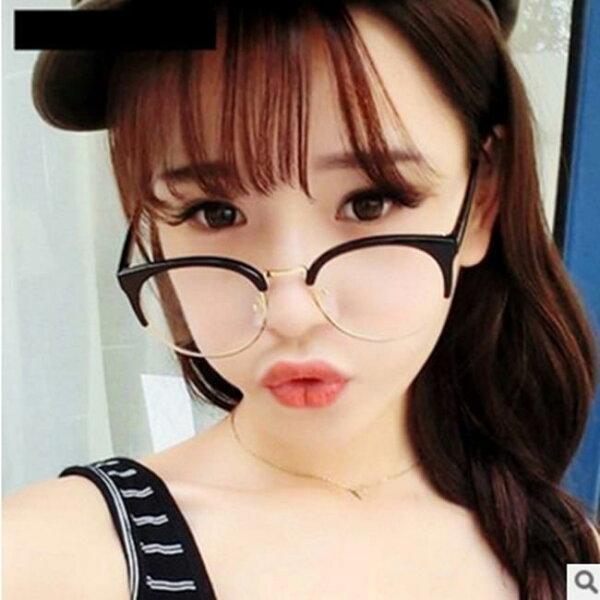 50%OFF【J007510GLS】時尚貓眼半框金屬邊眼鏡框復古男女款框架眼鏡大框修臉眼鏡附眼鏡盒