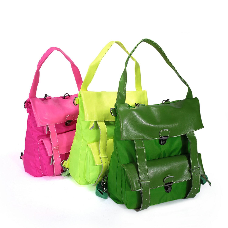 BEIBAOBAO夏季旅行防水布配真皮兩用後揹包(橄欖綠) 9
