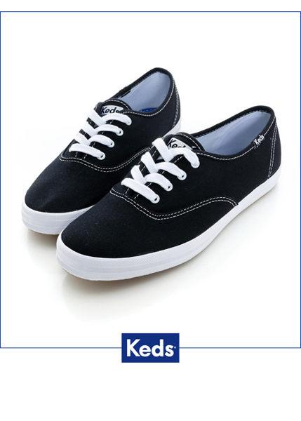 Keds 品牌經典帆布鞋-黑色 綁帶│懶人鞋│平底 0