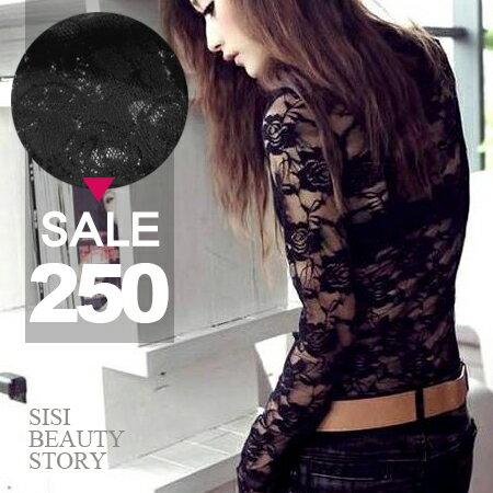 SISI~L6016~魅力透視美背性感圓領內搭蕾絲拼接長袖緊身T恤上衣