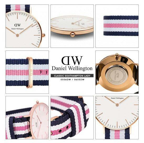瑞典正品代購 Daniel Wellington 0605DW 銀  尼龍 帆布錶帶 女錶手錶腕錶 36MM 3