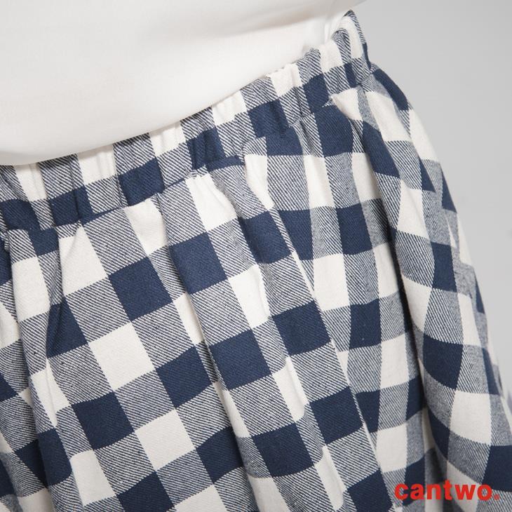 cantwo復古雙色格紋蝴蝶結短裙(共三色) 5