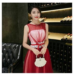 天使嫁衣【XQ8757】紅色無袖釘珠蕾絲收腰透色晚禮服-預購訂製款