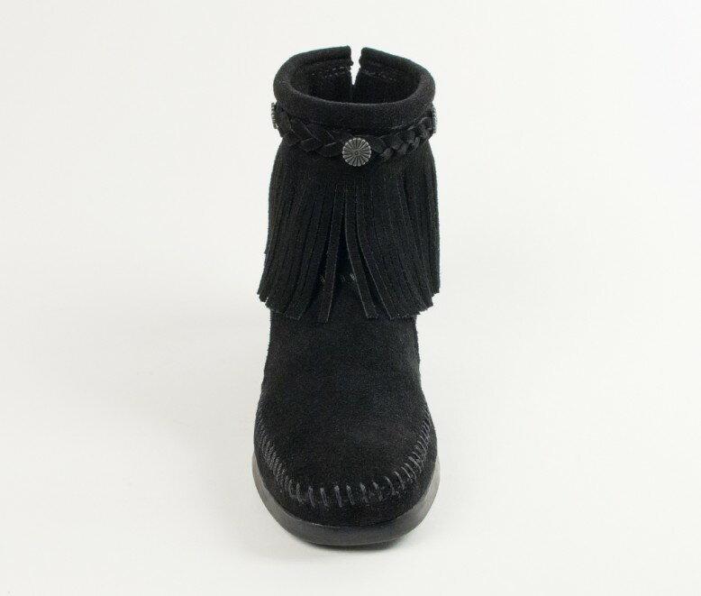 【Minnetonka 莫卡辛】黑色 - 麂皮後拉鍊流蘇莫卡辛短靴 3