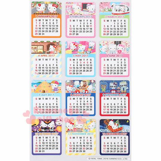 〔小禮堂〕Hello Kitty 2017日製月曆貼紙《多色.多角色》方便隨處貼.多用途