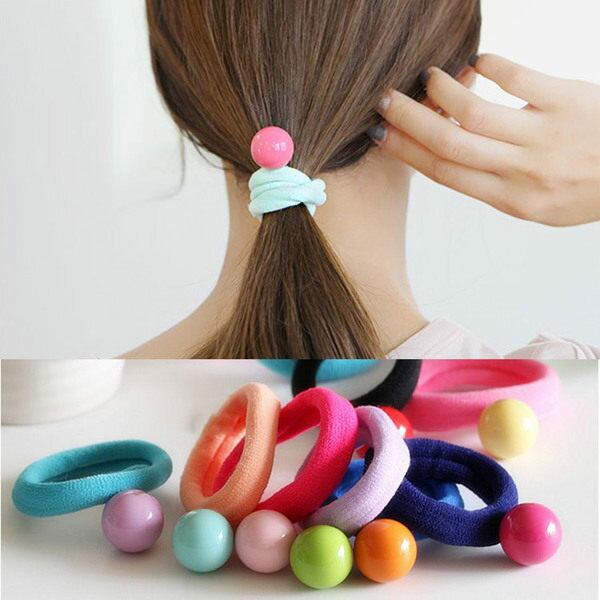 PS Mall 韓版不傷髮馬卡龍奶油色圓球發圈橡皮筋手環韓國糖果色發飾頭飾品【G1932】