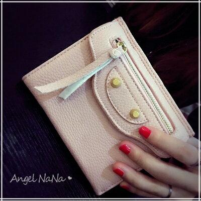 短夾。歐美 機車 大牌 鉚釘 三折 女皮夾 零錢包【M160】AngelNaNa