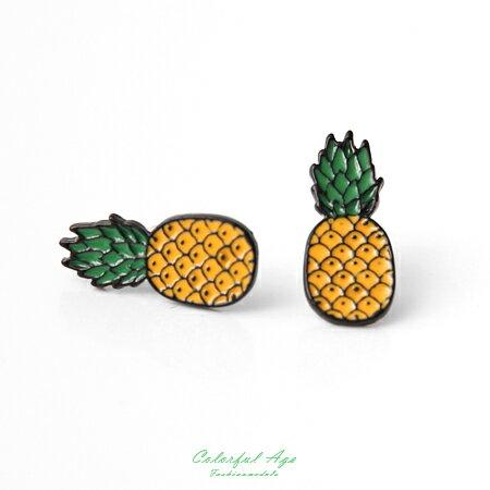 耳環 可愛水果系列旺旺鳳梨耳針耳環 涼夏海天度假 甜美女孩專屬 柒彩年代【ND280】俏皮風格 0