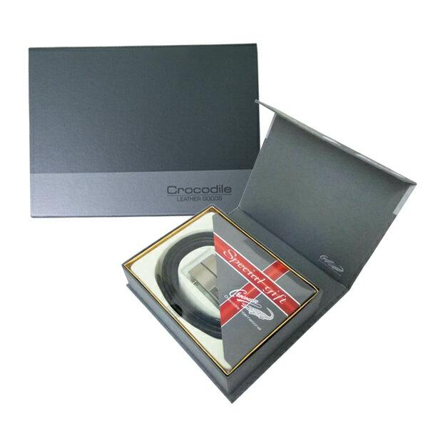 【加賀皮件】 Crocodile 鱷魚牌 父親節限定精美禮盒-單件金屬質感自動皮帶禮盒0107-0013