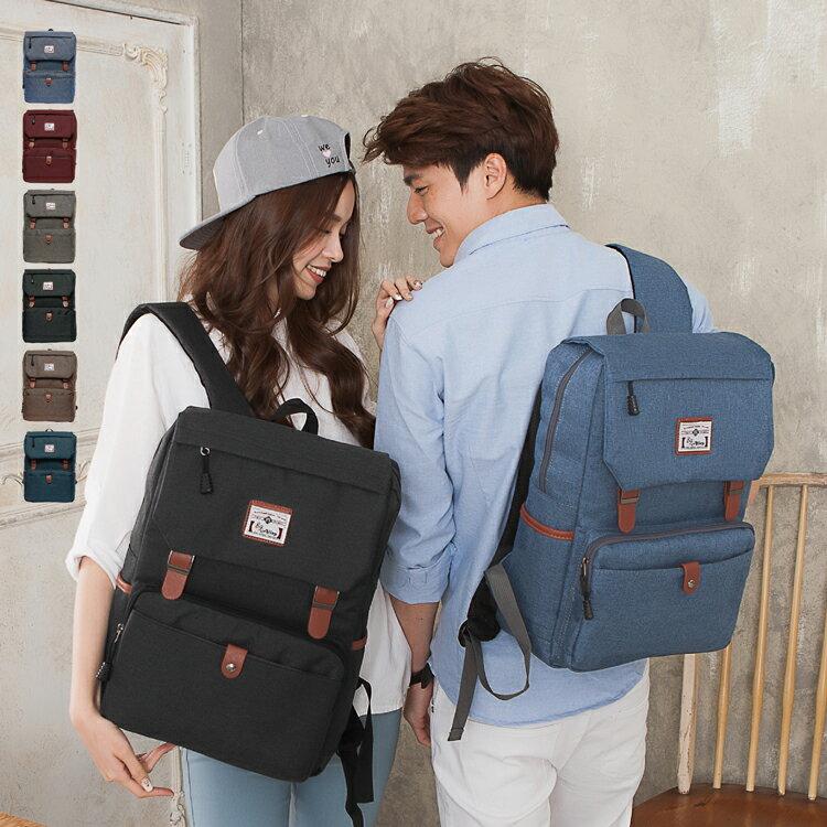 韓版多口袋款大容量情侶筆電後背包
