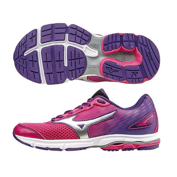 WAVE RIDER19 Jr. 一般型童鞋 K1GC162505(桃紅X銀X紫)S【美津濃MIZUNO】
