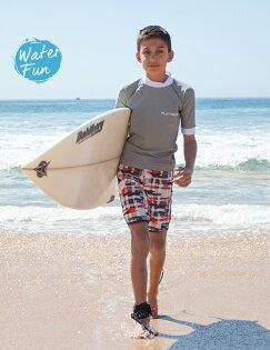 兒童泳衣 澳洲鴨嘴獸 UPF 50+ 抗UV 兒童防曬半長袖上衣+ 海灘褲 套組 (大男10-14歲) [樂游小舖]