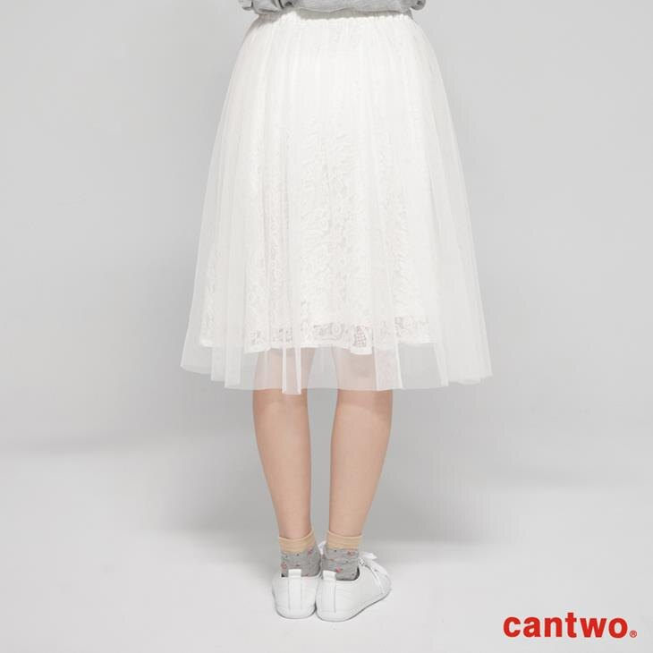 cantwo蕾絲花朵網紗及膝裙(共二色) 3