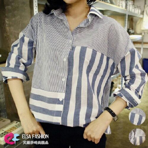 長袖襯衫 獨特粗細條紋不規則拼接寬鬆襯衫 艾爾莎【TAE2414】 0
