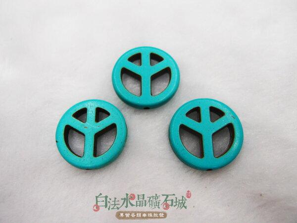 白法水晶礦石城 綠松石-20mm 民族風圖騰 串珠/條珠 首飾材料