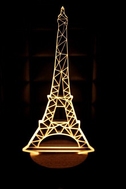 LED  3D立體燈 巴黎鐵塔 木質底座 小夜燈 氣氛燈 燈 USB 生日 聖誕 ~  好