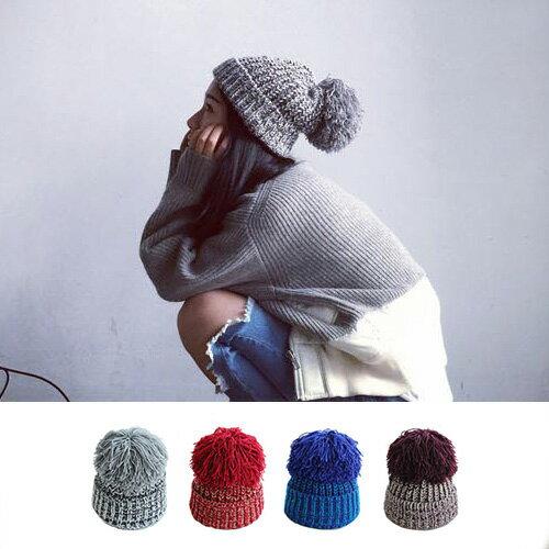 毛帽 加大毛球粗毛線護耳加厚針織帽【QI1693】 BOBI  11/03 0