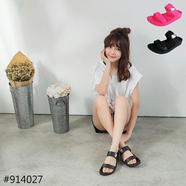 HELLO KITTY 凱蒂貓 914027 防水 厚底 輕量 拖鞋(黑 / 桃色)