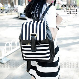 限時5折-嘉蒂斯包包 韓版學院風休閒黑白條紋後背包【W333】3色 現貨+預購