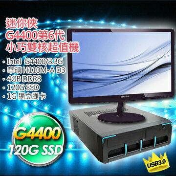 【華碩平台】(6代G4400-3.3G/華碩H110M-A D3/120G SSD/210-1G獨顯)6代Intel小巧雙核主機+PHILIPS飛利浦 223V5LSB2 22型 液晶螢幕