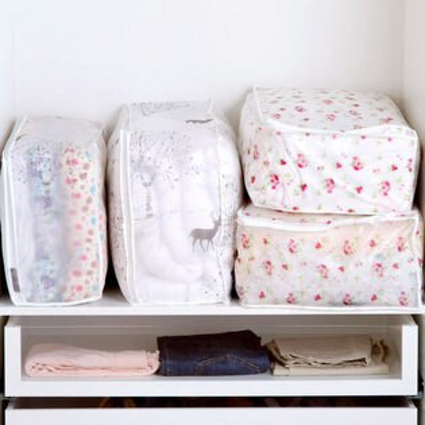 PS Mall 透明印花棉被收納袋防潮打包袋行李袋整理袋 【J385】