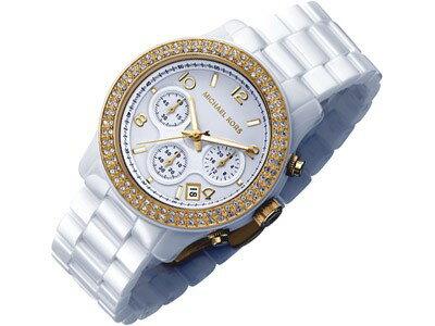 美國Outlet正品代購 MichaelKors MK 金色陶瓷 水鑽 三環 手錶 腕錶 MK5237 3