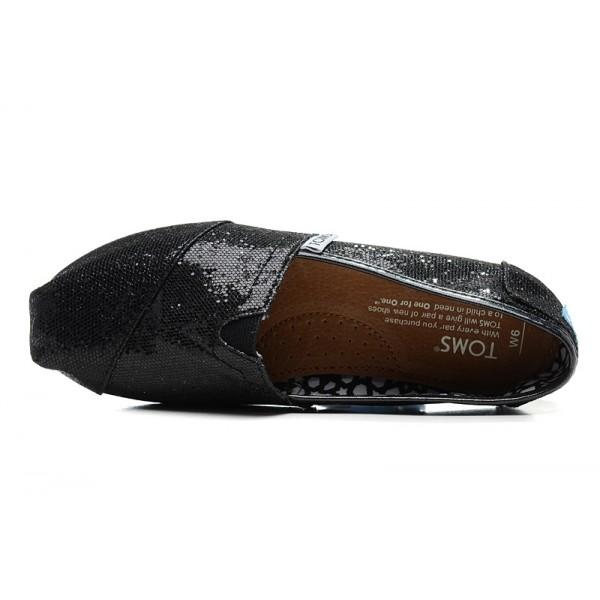 【TOMS】 經典亮片款平底休閒鞋(黑色)  Black Glitter Women's Classics 3