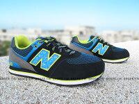 慢跑_路跑周邊商品推薦到Shoestw【KL574O3G】NEW BALANCE 復古慢跑鞋 黑藍 潑墨 黃 大童鞋 NB574 女生可穿