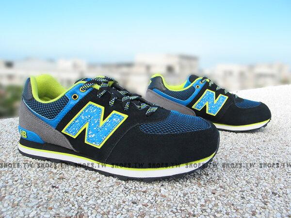 Shoestw【KL574O3G】NEW BALANCE 復古慢跑鞋 黑藍 潑墨 黃 大童鞋 NB574 女生可穿