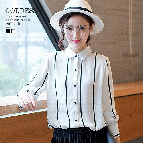 均一價390-嘉蒂斯上衣 韓版黑白條紋顯瘦襯衫【071497】2色 現貨+預購