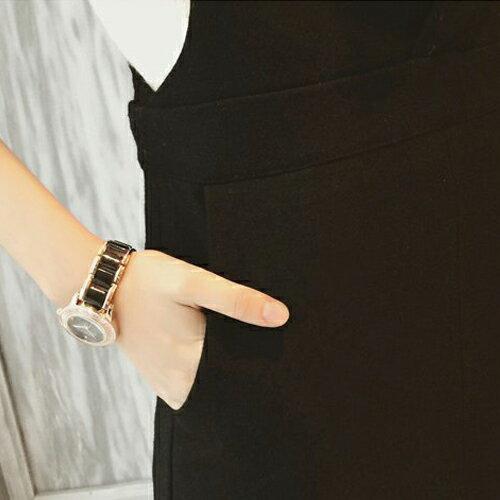 短洋裝 - 毛呢口袋設計吊帶連衣裙【29216】藍色巴黎 - 現貨+預購 1