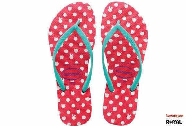 Havaianas 哈瓦士 新竹皇家 Slim Fresh 紅/綠 白點兔圖 細帶 珠光 夾腳拖鞋 女款 NO.H1355