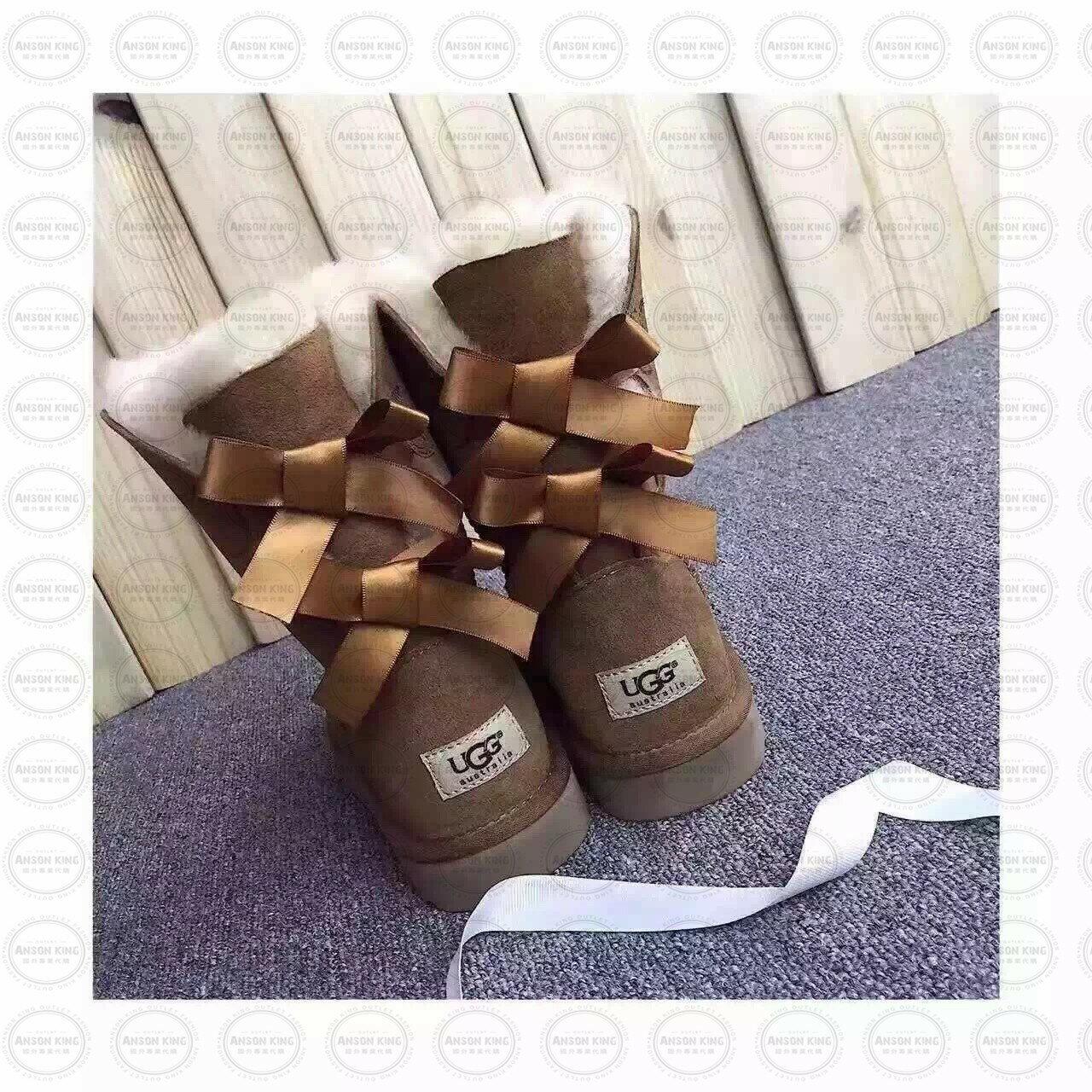 OUTLET正品代購 澳洲 UGG 蝴蝶結3280羊皮毛一體 中長靴 保暖 真皮羊皮毛 雪靴 短靴 駝色 0