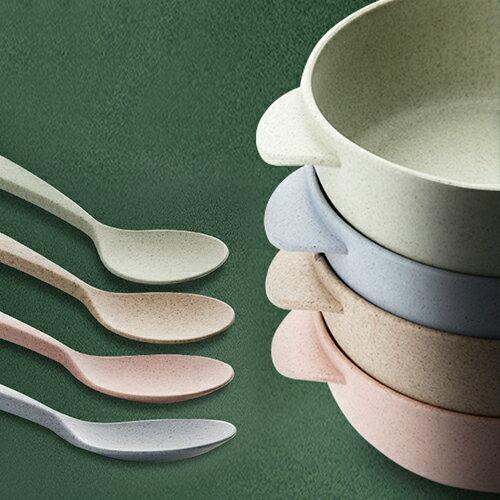 環保多功能餐具 湯碗+湯匙組/兒童飯碗湯匙兩件組【WS0530】BOBI  09/22