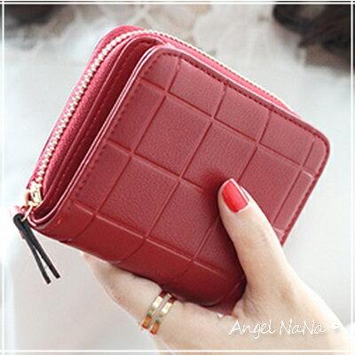 短夾。韓版 優雅簡約方格子 女皮夾 零錢包【M150】AngelNaNa