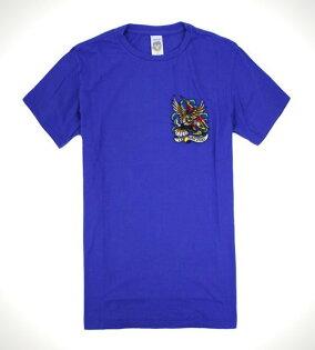 美國百分百【全新真品】ED HARDY 男衣 寶藍 上衣 T-shirt 短袖 T恤 老鷹 閃電 S M L號 C711