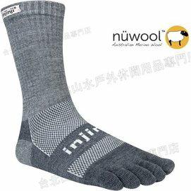 [ Injinji ] RUN 避震吸排五指短襪/五指襪/跑步襪/吸濕排汗 Nuwool羊毛 吸震加厚版 黑灰