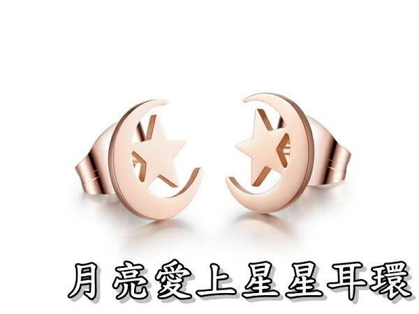 《316小舖》【S83】(優質精鋼耳環-月亮愛上星星耳環-單邊價 /月亮耳環/星星耳環/百搭配件/送禮首選/優質耳環)