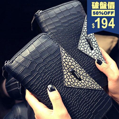 長夾-韓版鱷魚紋三角大容量錢包 包飾衣院 A1087 現貨+預購