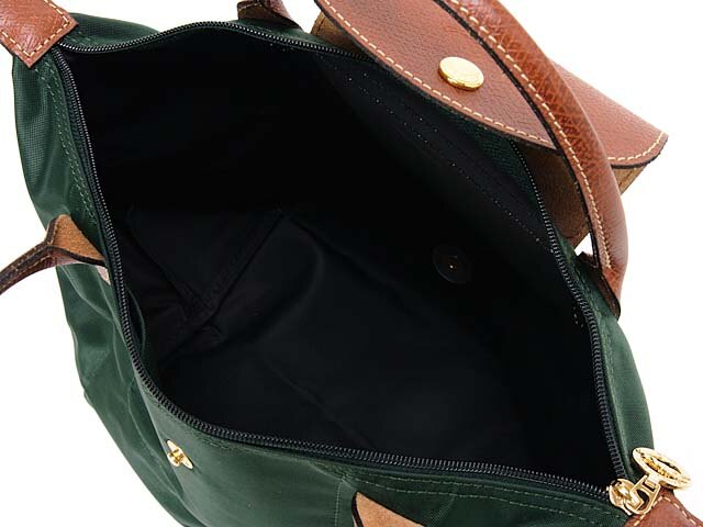 [短柄S號]國外Outlet代購正品 法國巴黎 Longchamp [1621-S號] 短柄 購物袋防水尼龍手提肩背水餃包 墨綠色 2