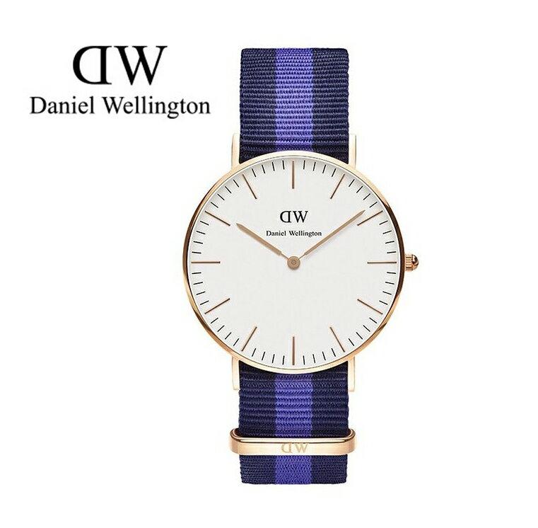 瑞典正品代購 Daniel Wellington 0504DW 玫瑰金 尼龍 帆布錶帶 女錶手錶腕錶 36MM 0