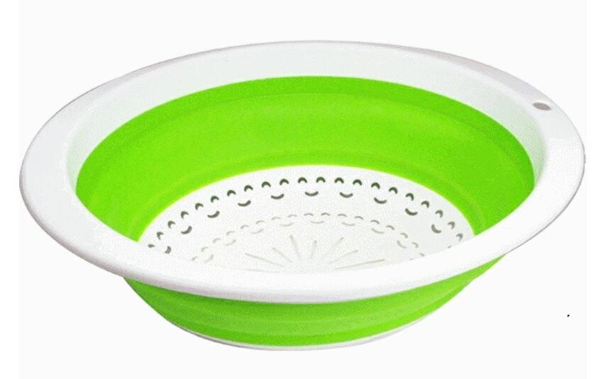 伸縮瀝水洗菜籃 綠色  摺疊籃  水果籃 A059A ~  好康折扣