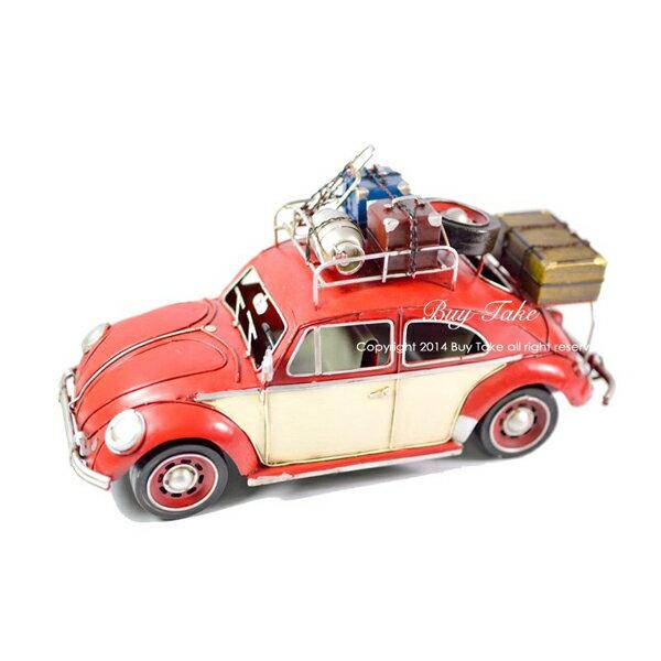 手工紅色老爺金龜車 迷你行李箱 行李架款 紅色 美式復古手工車 復刻 鄉村 鐵皮汽車 汽車模型