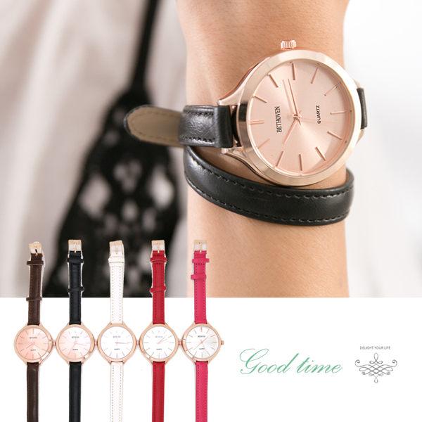 大錶面 玫瑰金 簡約線條刻度 纏繞錶帶 時尚女錶  皮錶帶《好時光》