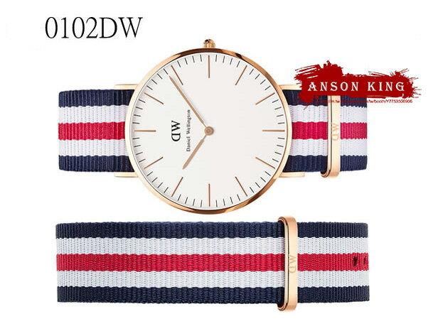 瑞典正品代購 Daniel Wellington 0102DW 玫瑰金 尼龍 帆布錶帶 手錶腕錶 40MM 3