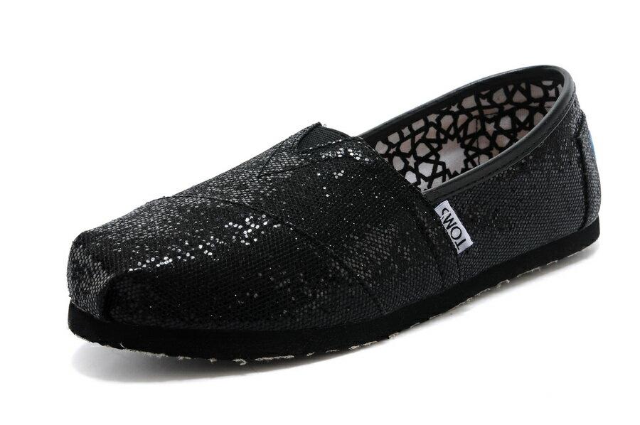 【TOMS】 經典亮片款平底休閒鞋(黑色)  Black Glitter Women's Classics 2
